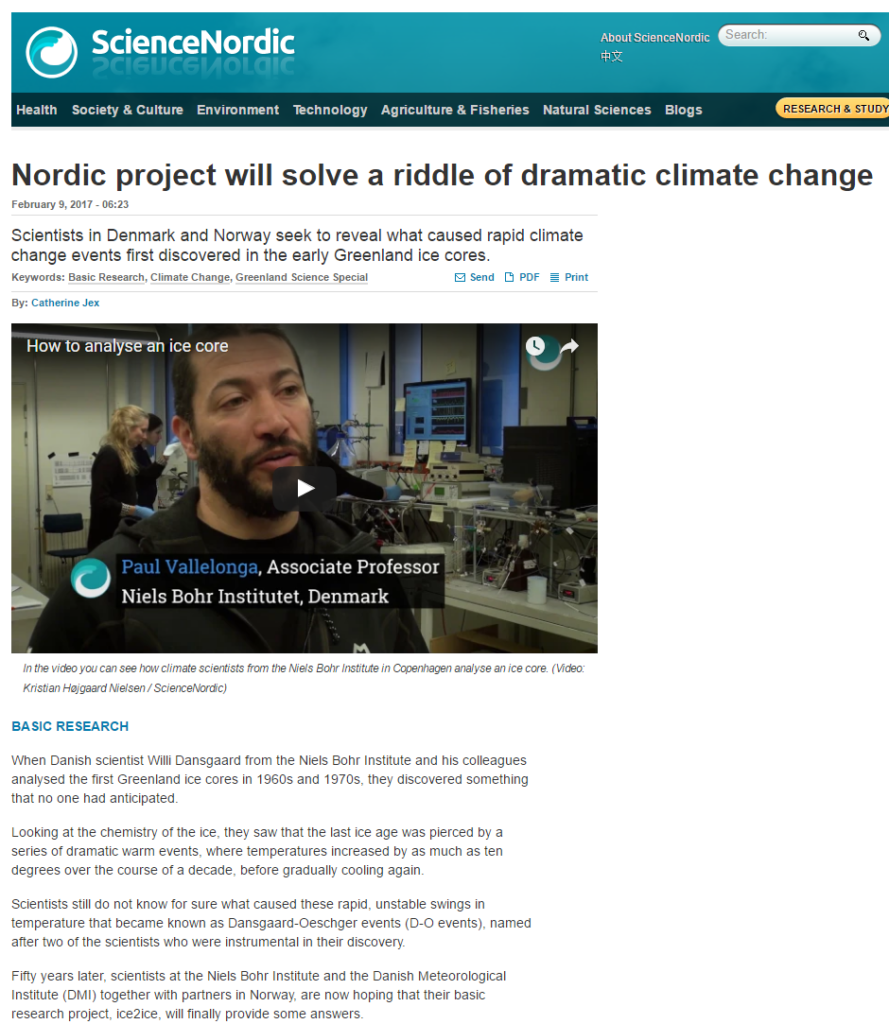 ice2ice was featured in ScienceNordic