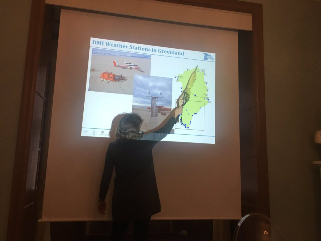 ice2ice researcher Ruth Mottram on Surface Mass Balance of the NEGIS ice stream. Since the meeting was hold in Bergen the pointer was an umbrella!